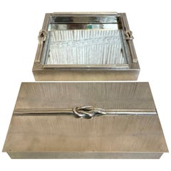 A French Stainless Steel Looped Rope Design Jewelry Box and Tray