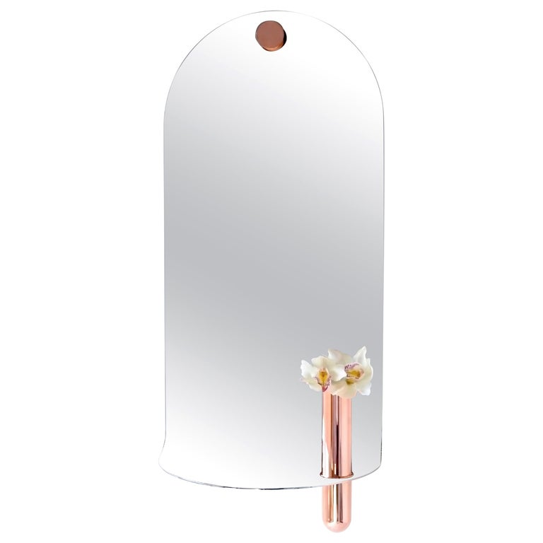 Stainless Steel Mirror with Brushed Copper Vase by Birnam Wood Studio For Sale
