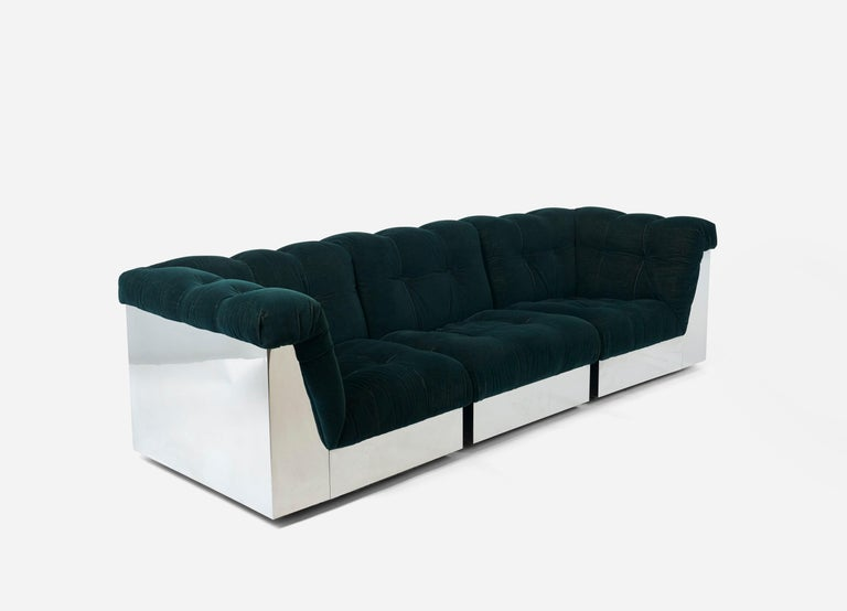 Mid-Century Modern Stainless Steel Modular Sofas by Giorgio Montani for Souplina, French, 1970s For Sale
