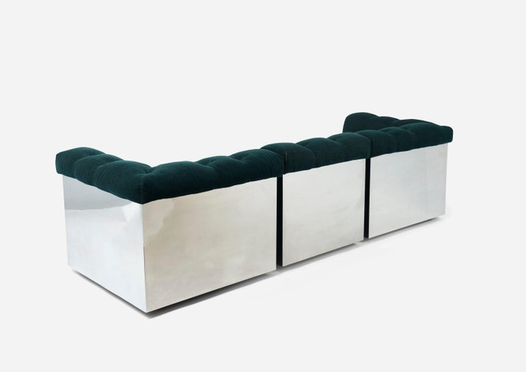 Stainless Steel Modular Sofas by Giorgio Montani for Souplina, French, 1970s In Good Condition For Sale In Chicago, IL
