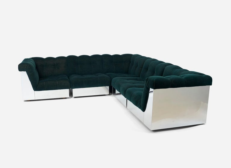 Mohair Stainless Steel Modular Sofas by Giorgio Montani for Souplina, French, 1970s For Sale