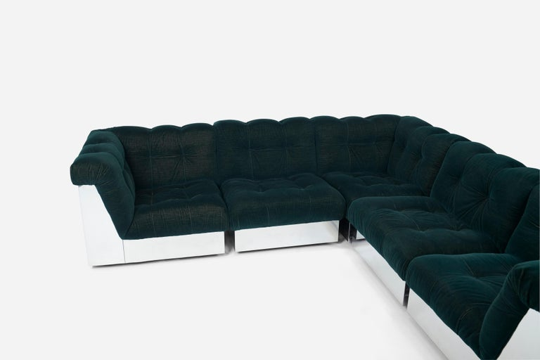 Stainless Steel Modular Sofas by Giorgio Montani for Souplina, French, 1970s For Sale 1