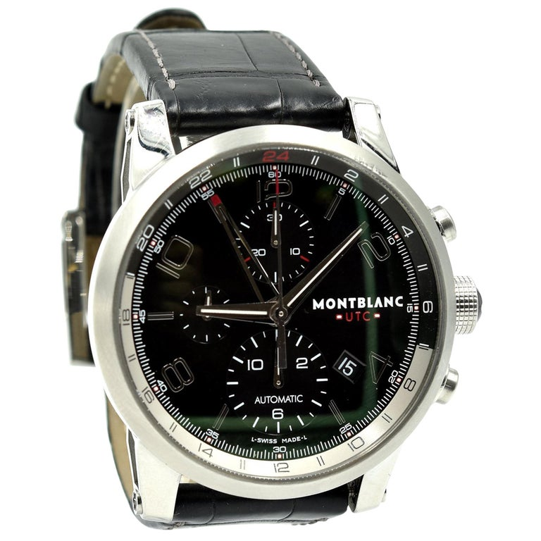 b2060811526 Stainless Steel Mont Blanc Timewalker Chronovoyager UTC Watch. 107336 For  Sale