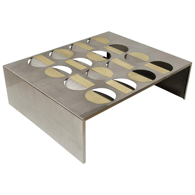 Stainless Steel Moonland Coffee Table by Ana Volante Studio For Sale
