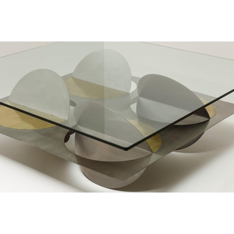 Modern Stainless Steel Moonsky Coffee Table by Ana Volante Studio For Sale