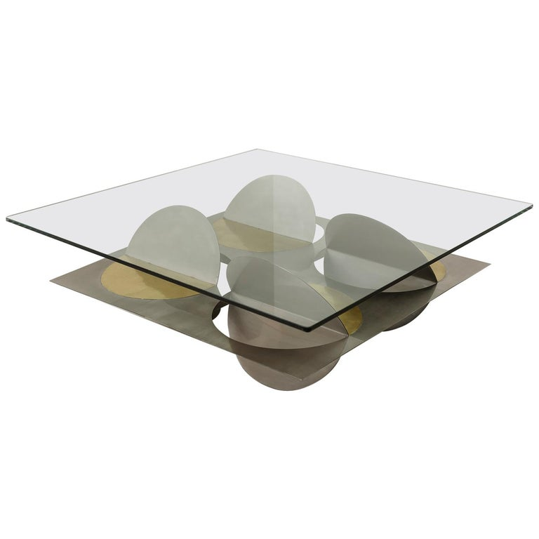 Stainless Steel Moonsky Coffee Table by Ana Volante Studio For Sale