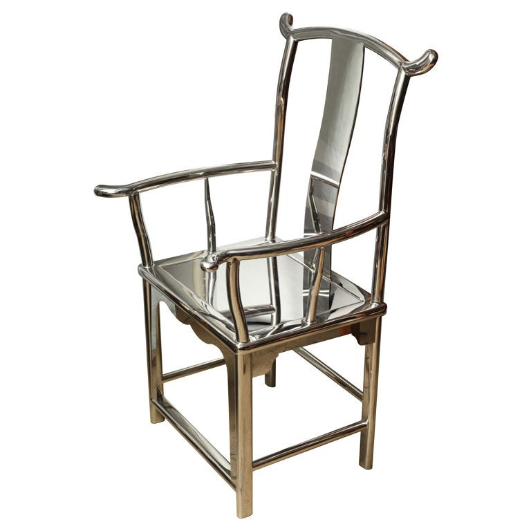 Stainless Steel Official's Hat Armchair, Contemporary