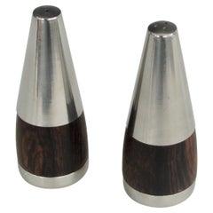 Stainless Steel on Rosewood Modernist Salt and Pepper Shakers Marked Denmark