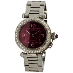 Stainless Steel Pasha de Cartier Diamond Large Automatic Ladies Wristwatch