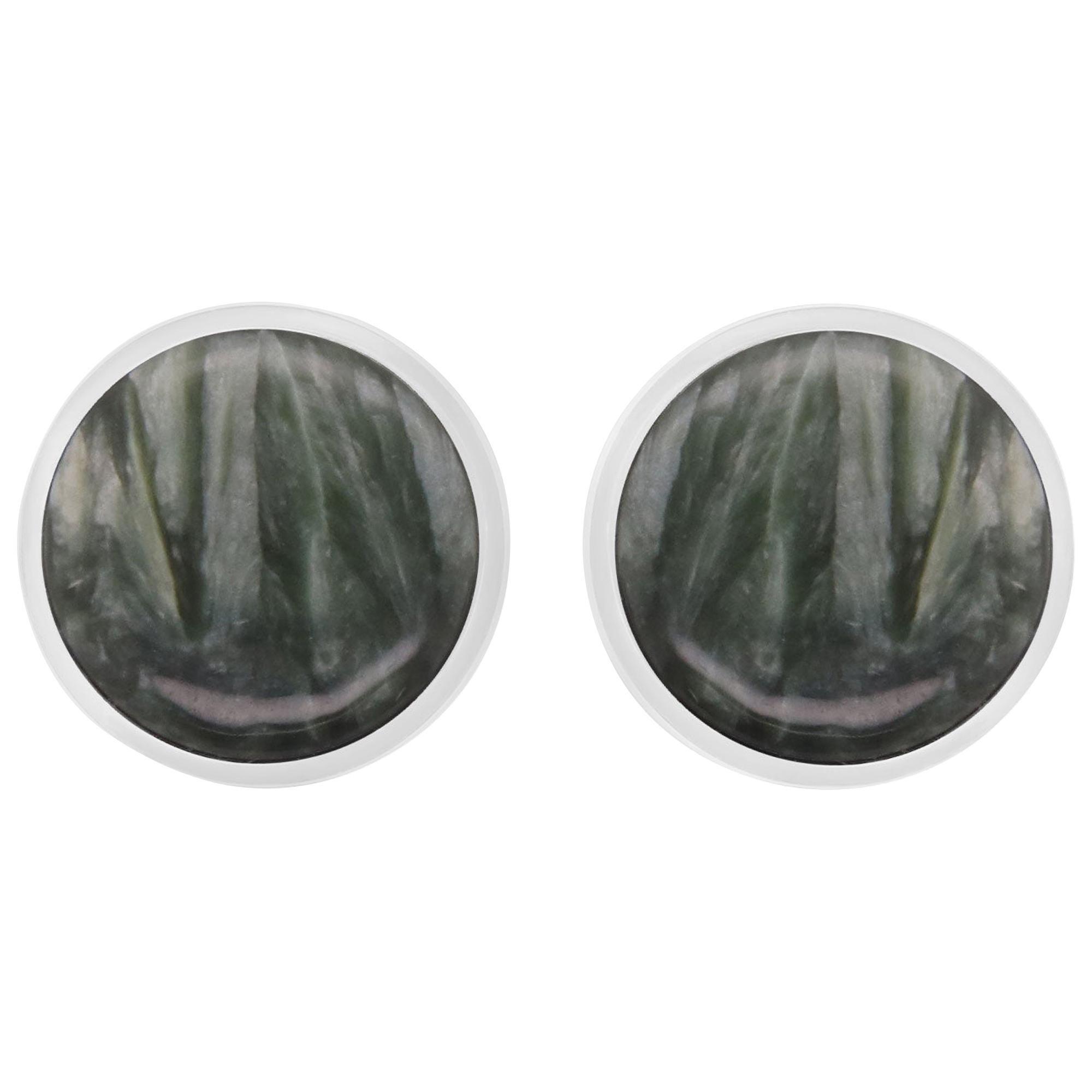 Stainless Steel Round Green Quartz Men Cufflinks