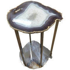 Stainless Steel Side Table with Amethyst Geode Stone Slice