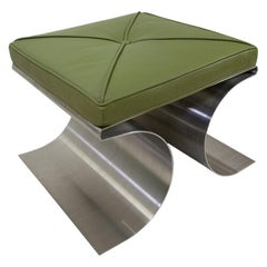 Stainless Steel Stool in the Style of Michel Boyer, 1970s