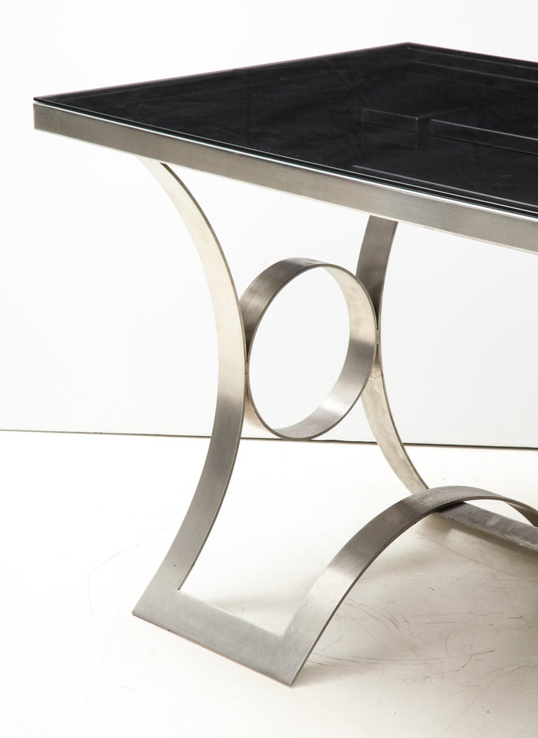 Rare Stainless Steel Table with Smoked Grey Glass Top, France, circa 1970 For Sale 7