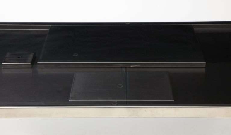 Rare Stainless Steel Table with Smoked Grey Glass Top, France, circa 1970 In Good Condition For Sale In New York City, NY