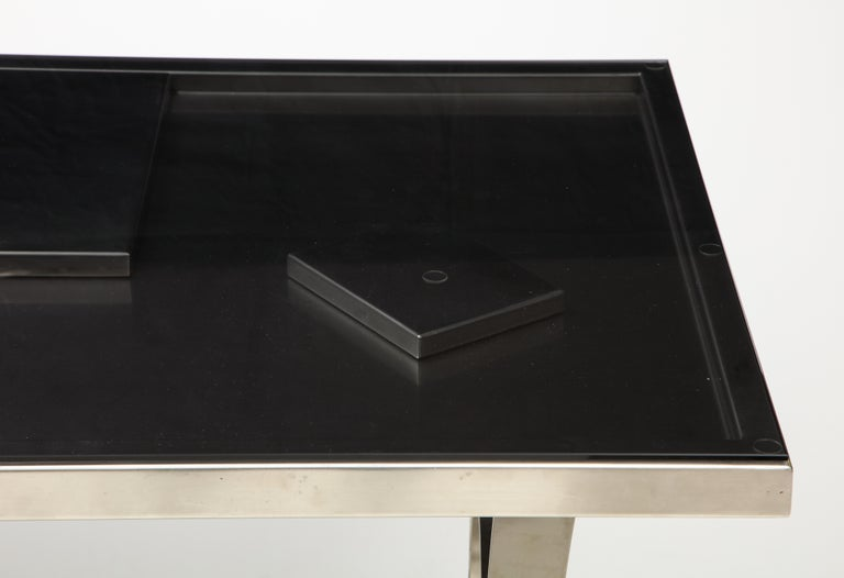 Late 20th Century Rare Stainless Steel Table with Smoked Grey Glass Top, France, circa 1970 For Sale