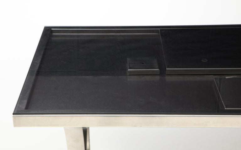 French Rare Stainless Steel Table with Smoked Grey Glass Top, France, circa 1970 For Sale