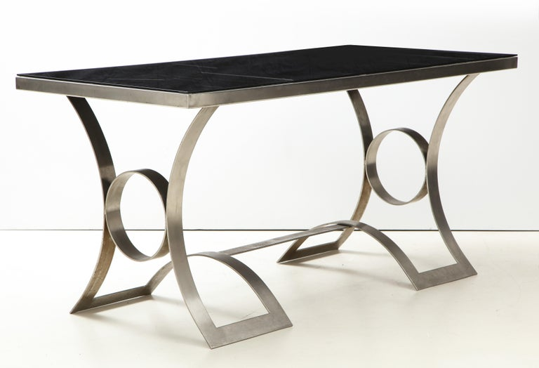 Rare Stainless Steel Table with Smoked Grey Glass Top, France, circa 1970 For Sale 1