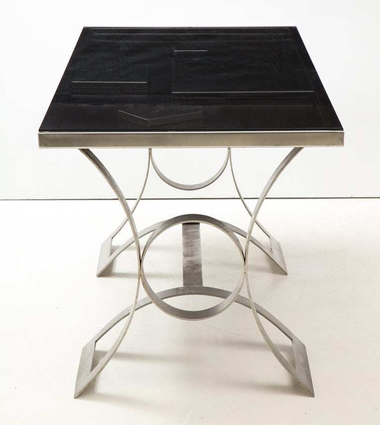 Rare Stainless Steel Table with Smoked Grey Glass Top, France, circa 1970 For Sale 4