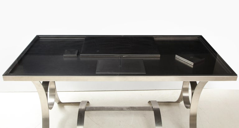 Modern Rare Stainless Steel Table with Smoked Grey Glass Top, France, circa 1970 For Sale