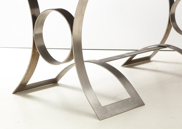 Rare Stainless Steel Table with Smoked Grey Glass Top, France, circa 1970 For Sale 2