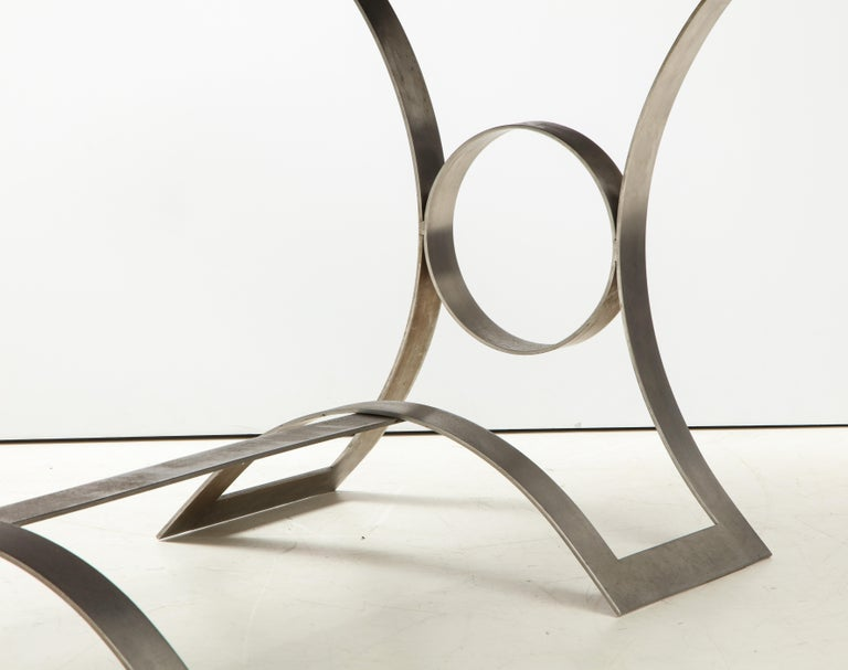 Rare Stainless Steel Table with Smoked Grey Glass Top, France, circa 1970 For Sale 3