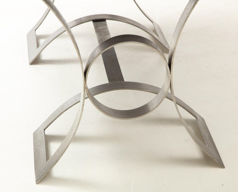 Rare Stainless Steel Table with Smoked Grey Glass Top, France, circa 1970 For Sale 5