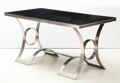Rare Stainless Steel Table with Smoked Grey Glass Top, France, circa 1970