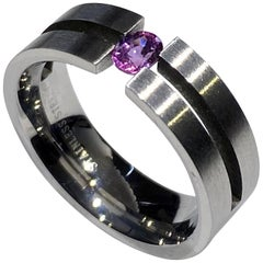 Purple Sapphire Stainless Steel Tension Ring
