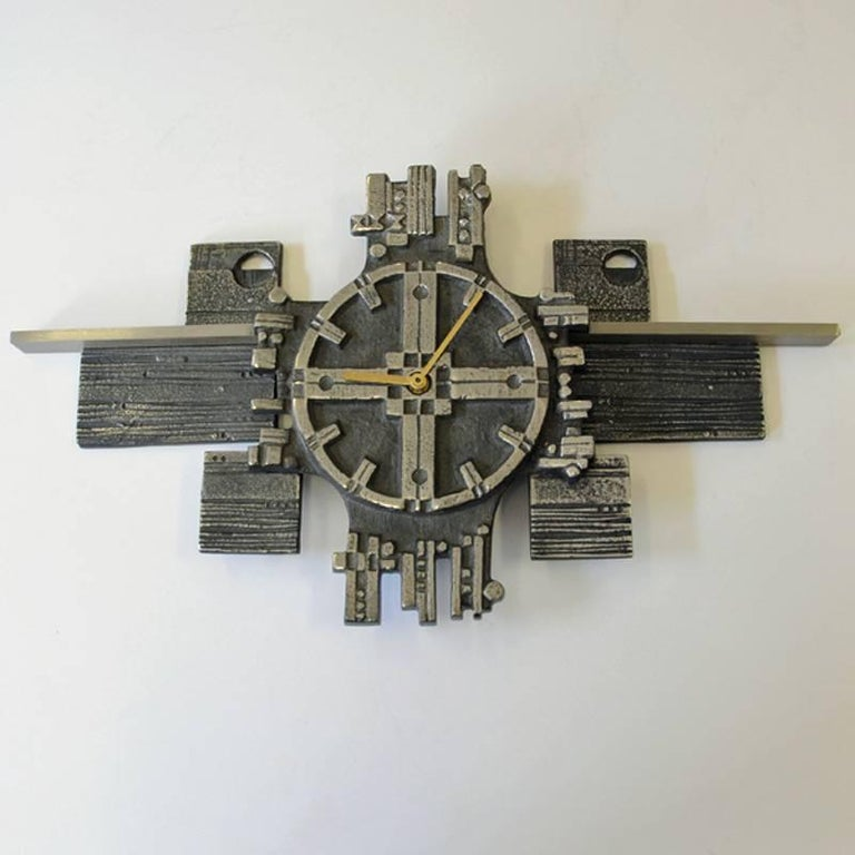 Stainless Steel Wall Clock Steel Art From 1970s From Polaris Olav