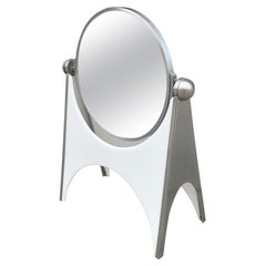 Stainless Steel and White Acrylic Vanity Mirror by Charles Hollis Jones