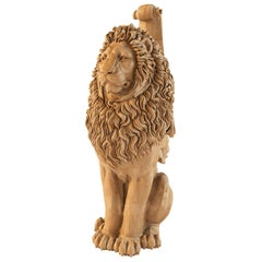 """Staircase Column Post """"Lion"""", Wood Carved Newel Post"""