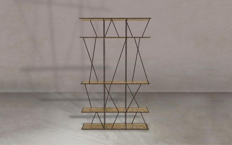 Contemporary Staiths V2 Patinated Steel and Brass Minimalist Shelving Unit by Novocastrian For Sale