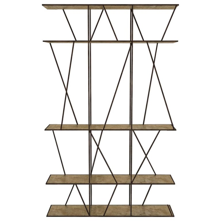 Staiths V2 Patinated Steel and Brass Minimalist Shelving Unit by Novocastrian For Sale