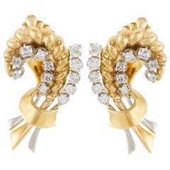 Stalk Diamond Gold Earrings