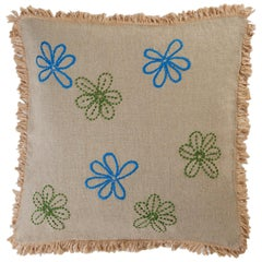 Stall BG Less Hand Embroidered Beige Linen Pillow Cover