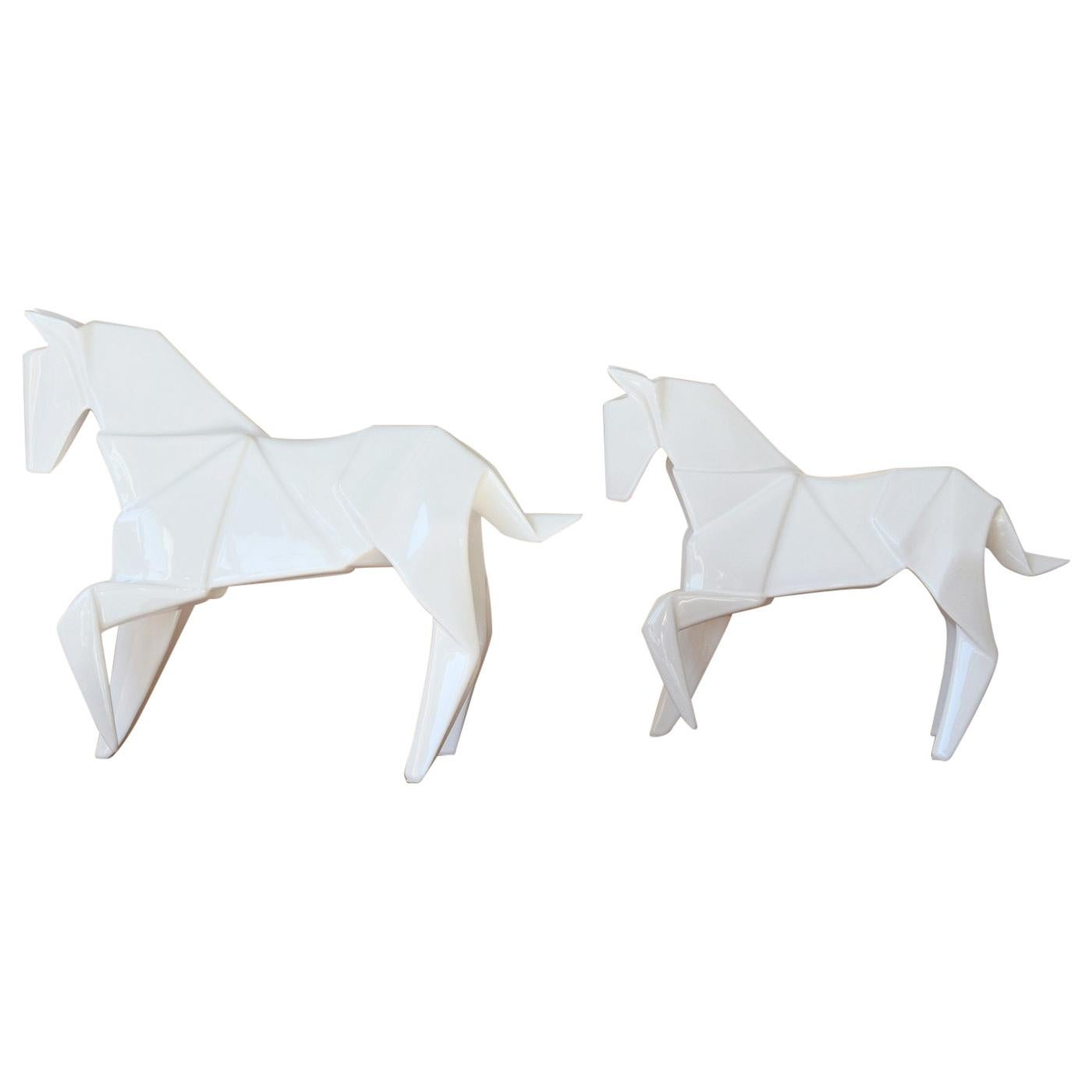 Stallion White Set of 2 Sculpture