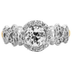 Stambolian 0.81 Carat Round Diamond White Yellow Gold Engagement Ring