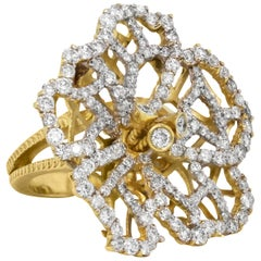 Stambolian 18 Karat Gold and Diamond Floral Motif Hibiscus Flower Cocktail Ring