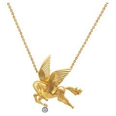 Stambolian 18 Karat Gold Dangling Bezel Diamond Pegasus Pendant Necklace