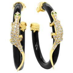 Stambolian 18 Karat Gold Diamond Black Onyx Tsavorite Lizard Hoop Earrings