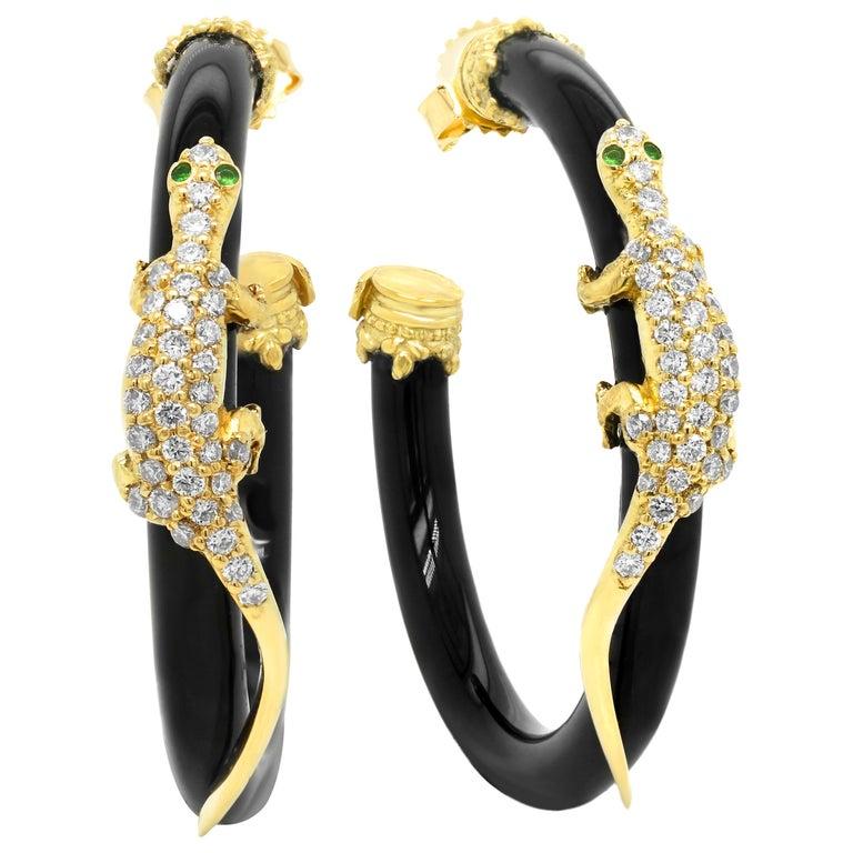 Stambolian 18 Karat Gold Diamond Black Onyx Tsavorite Lizard Hoop Earrings For Sale