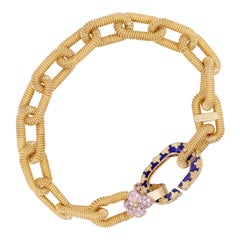 Stambolian 18 Karat Gold Heavy Paper Clip Link Blue Enamel Diamond Bracelet