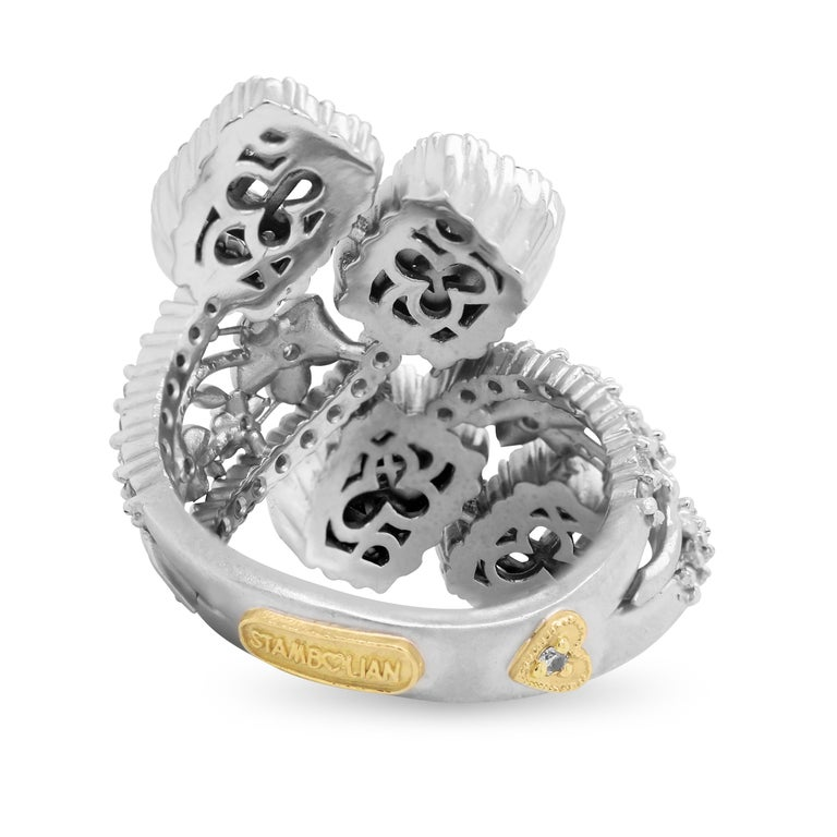Contemporary Stambolian 18 Karat White Gold Baguette Round Diamond Floral Bypass Flower Ring For Sale