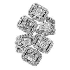 Stambolian 18 Karat White Gold Baguette Round Diamond Floral Bypass Flower Ring