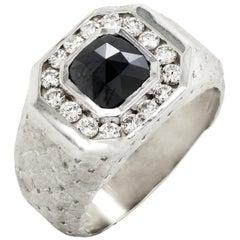 Stambolian 18 Karat White Gold Black White Diamond Checkered Design Men's Ring