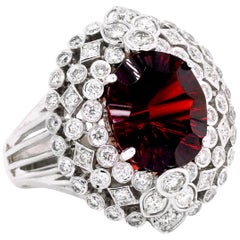 Stambolian 18 Karat White Gold Diamond Oval Checkered Cut Garnet Cocktail Ring
