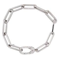 Stambolian 18 Karat White Gold Diamond Paper Clip Link Bracelet