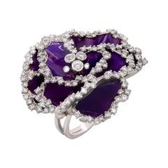 Stambolian 18 Karat White Gold Diamond Purple Enamel Africa Violet Floral Ring