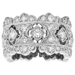Stambolian 18 Karat White Gold Diamond Wide Band Ring