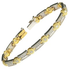 Stambolian 18 Karat White Yellow Two-Tone Gold Diamond Tennis Bracelet